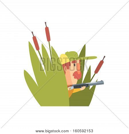Funny Childish Hunter Character With Moustache Sitting In Ambush Cartoon Vector Illustration. Man And His Hunting Hobby Comic Scene Flat Drawing.