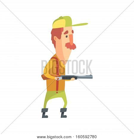 Funny Childish Hunter Character With Moustache Tiptoeing Cartoon Vector Illustration. Man And His Hunting Hobby Comic Scene Flat Drawing.