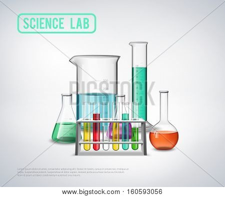 Science lab symbols composition with realistic colorful jars bottles test tubes flat isolated vector illustration