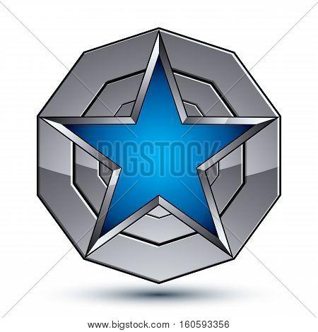 Celebrative Metallic Geometric Symbol, Stylized Pentagonal Blue Star Placed On A Round Silver Surfac