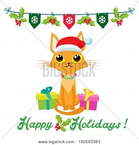 Cute Christmas Vector Card With Text Happy Holidays. Cute Cat In Christmas Costume. Merry Christmas Happy New Year Congratulation Design Element. Good For Xmas Card Banner.
