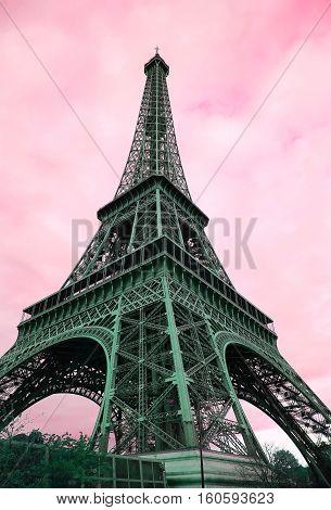Eiffel Tower - retro postcard styled .