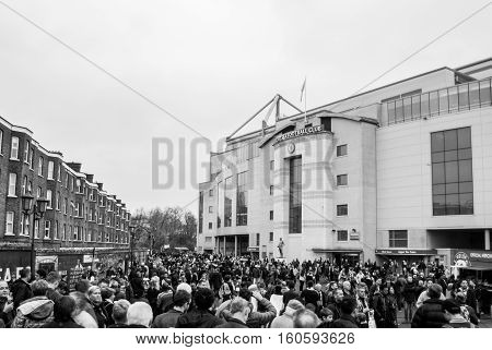LONDON, UNITED KINGDOM - 22 NOVEMBER 2014: The outside view of Stamford Bridge, the home ground of Chelsea Football Club. Photo taken before premier league clash between Chelsea and West Brom.