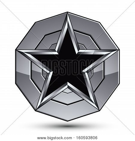 Sophisticated Design Geometric Symbol, Stylized Pentagonal Black Star Placed On A Round Silver Surfa