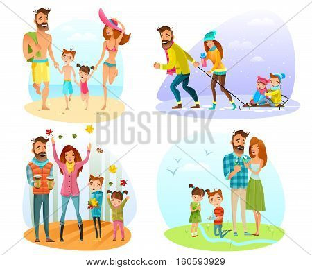 Happy family spending good time in different seasons isolated on white background cartoon vector illustration