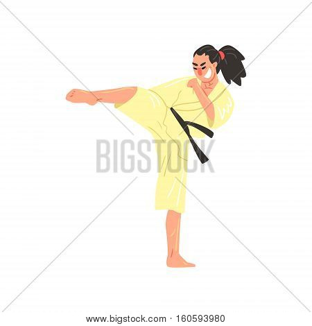 Karate Professional Fighter In Kimono With Black Belt Doing Sidkick With Bended Leg Cool Cartoon Character. Martial Arts Sportsman With Ponytail Demonstrating Classic Kick Technique Vector Illustration.