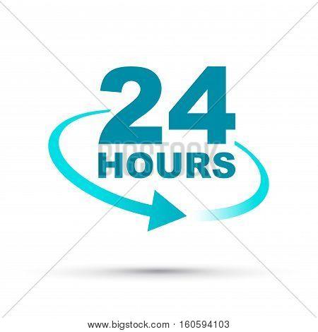 a blue twenty four hours arrow icon
