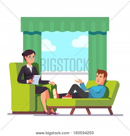 Patient talking to psychologist. Psychotherapy counseling. Dealing with stress and addiction. Flat style modern vector illustration. Flat style modern vector illustration.