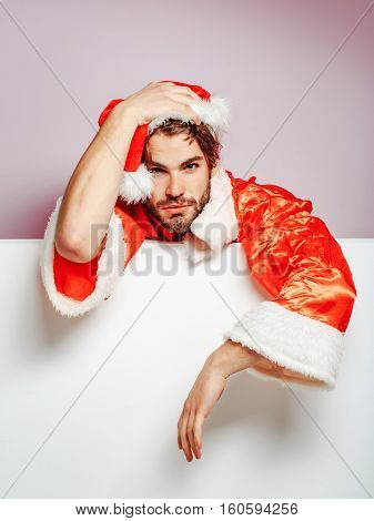 Handsome Sad Santa Man