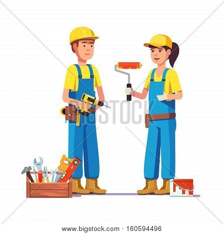 Workers in uniform. Painter and carpenter craftsman. Flat style modern vector illustration.