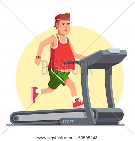 Obese young man running on treadmill.  Working out in sweat to get rid of fat belly. Flat style modern vector illustration.