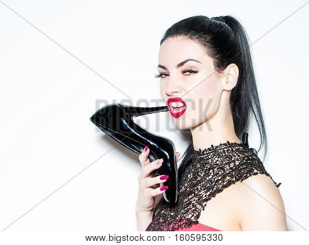 Angry Girl With Black Shoe