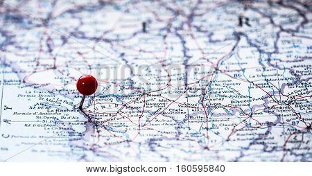 La Rochelle France pinned in the route map