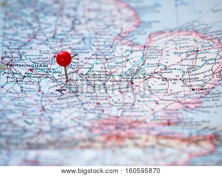 Northampton England location pinned on the route map