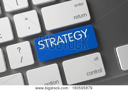 Strategy Concept: Metallic Keyboard with Strategy, Selected Focus on Blue Enter Button. 3D Illustration.