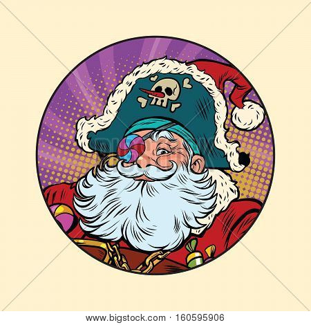 Santa Claus pirate. Pop art retro vector illustration. Candy eye patch