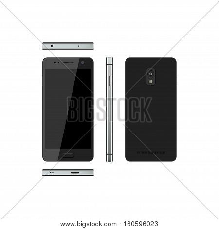 Black smartphone on a white background. Phone in different views: in front side front back. Touch telephone with the camera. Vector illustration