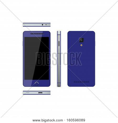 Blue smartphone on a white background. Phone in different views: in front side front back. Touch telephone with the camera. Vector illustration