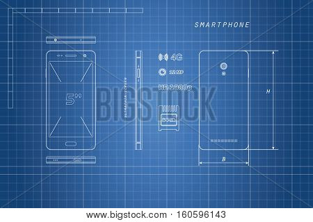 Drawing of outline smartphone. Phone in different views: in front side front back. Touch telephone with the camera. Vector illustration
