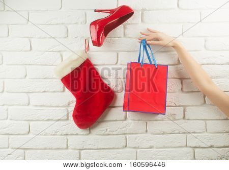 Christmas Stocking Shoe And Package