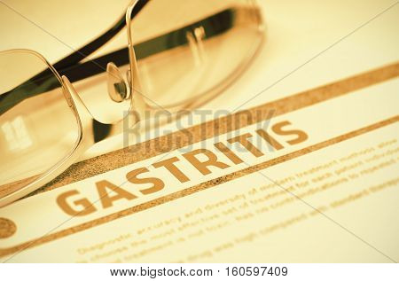 Gastritis - Medicine Concept with Blurred Text and Pair of Spectacles on Red Background. Selective Focus. 3D Rendering.