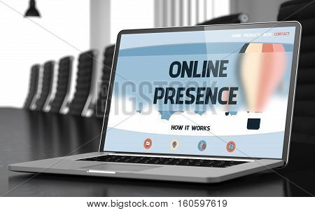 Laptop Display with Online Presence Concept on Landing Page. Closeup View. Modern Conference Room Background. Toned Image with Selective Focus. 3D Illustration.