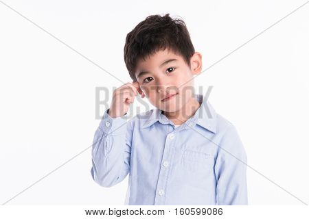 little asian boy portrait - isolated shot