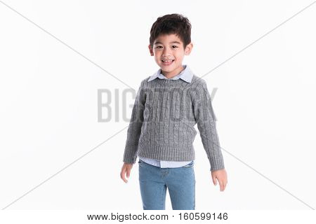 little asian boy portrait - isolated shot