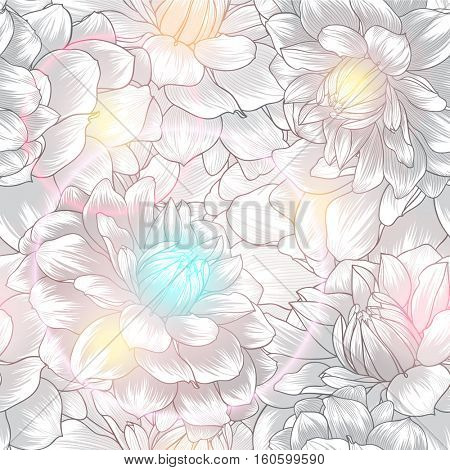 Beautiful  abstract seamless hand drawn floral pattern with dahlias flowers. Vector illustration. Element for design.