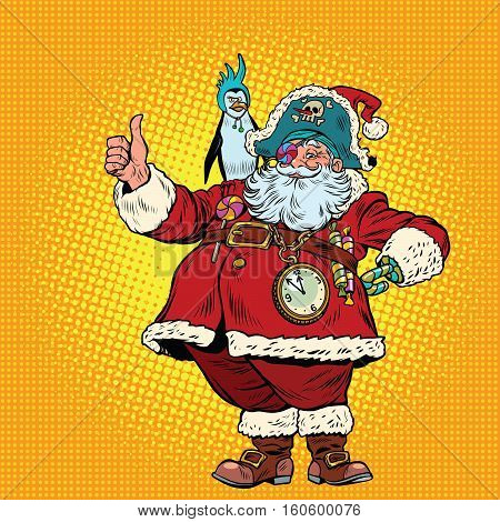 Santa Claus pirate thumb up. Pop art retro vector illustration. Pet penguin from Antarctica