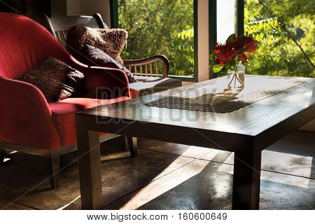 Ixora Flower, Table And Chair In Living Room Near Window