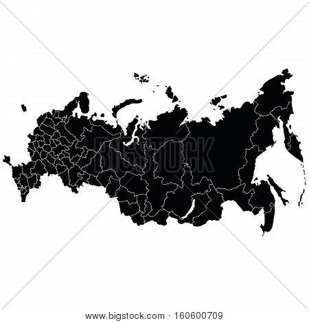 A detailed map of the Russian Federation border regions. Vector illustration.