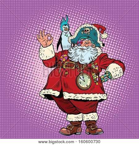 Santa Claus pirate and penguin okay gesture. Pop art retro vector illustration. New year and Christmas