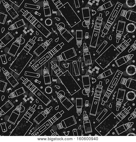 Vector seamless pattern for vape shop and vapor bar e-cigarette and e-liquid store isolated on texture grunge background. Wrapping paper pattern