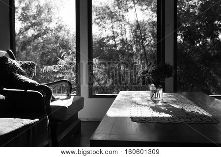 Ixora Flower, Table And Chair In Living Room Near Window, Black And White