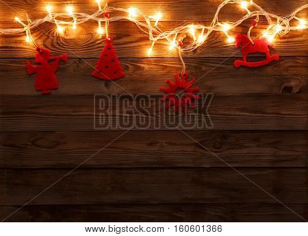Red felt toys with garland