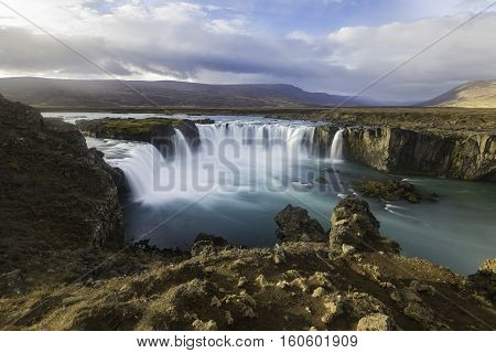 The Godafoss is one of the most spectacular waterfalls in Iceland. It is located in the Bardardalur district of North-Central Iceland at the beginning of the Sprengisandur highland road.