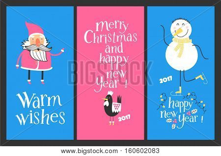 Holiday cards - Marry Christmas and Happy New Year. Rooster the symbol of 2017. ?heerful snowman on skates