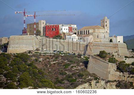 Beautiful view of Castle of Ibiza, Ibiza Town. SPAIN.