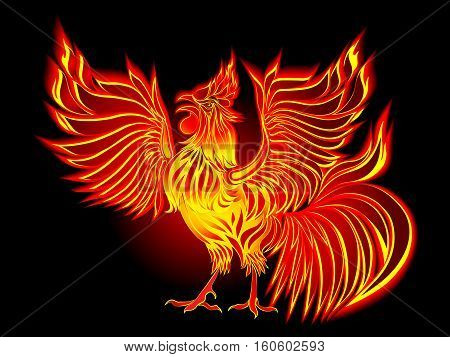 Hand drawn vector illustration of the red rooster. Fiery rooster - symbol of the Chinese New Year. Fire bird red cock. Happy New Year greeting card.