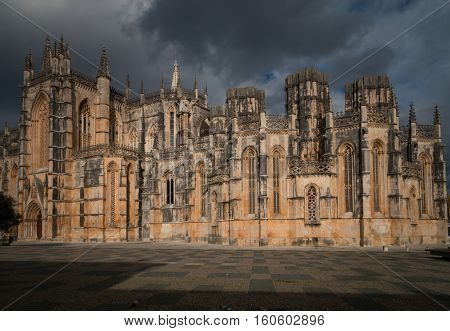 Batalha monastery, Portugal, in cloudy stormy weather