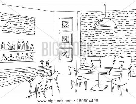 Cafe bar interior graphic sketch illustration vector