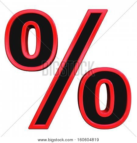 Percent sign from black with red frame alphabet set, isolated on white. 3D illustration.