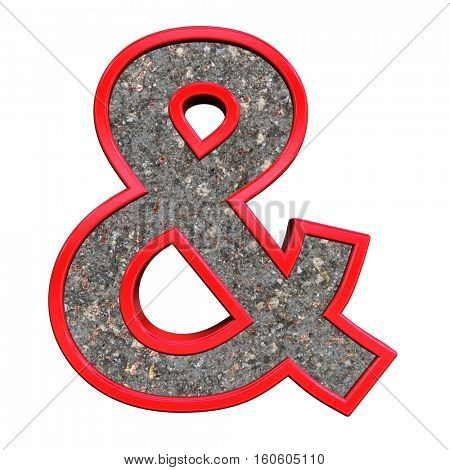 And sign from corroded steel with red frame alphabet set, isolated on white. 3D illustration.