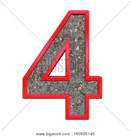 One digit from corroded steel with red frame alphabet set, isolated on white. 3D illustration.