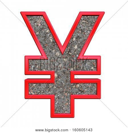 Yen sign from corroded steel with red frame alphabet set, isolated on white. 3D illustration.