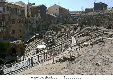 Beautiful view of Roman amphitheatre Catania, Sicily. ITALY.