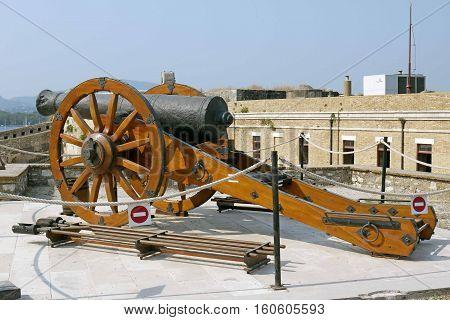 CORFU, GREECE - July 13, 2015: Canon in Old Fortress. Corfu, GREECE.
