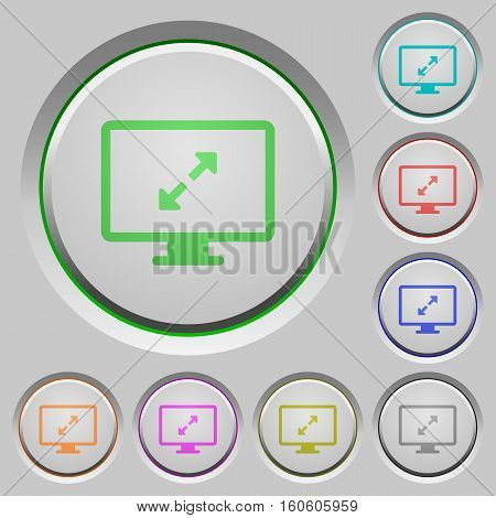 Screen resolution color icons on sunk push buttons