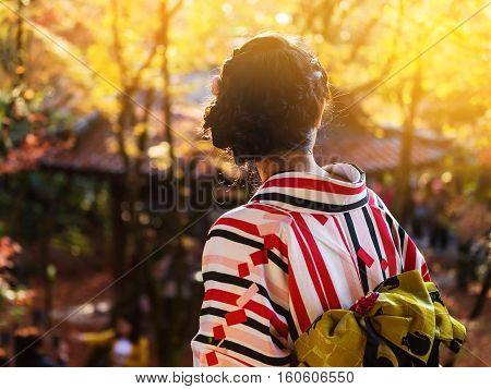 Kimono Girl Enjoy Autumn Foliage At Eikando, Kyoto